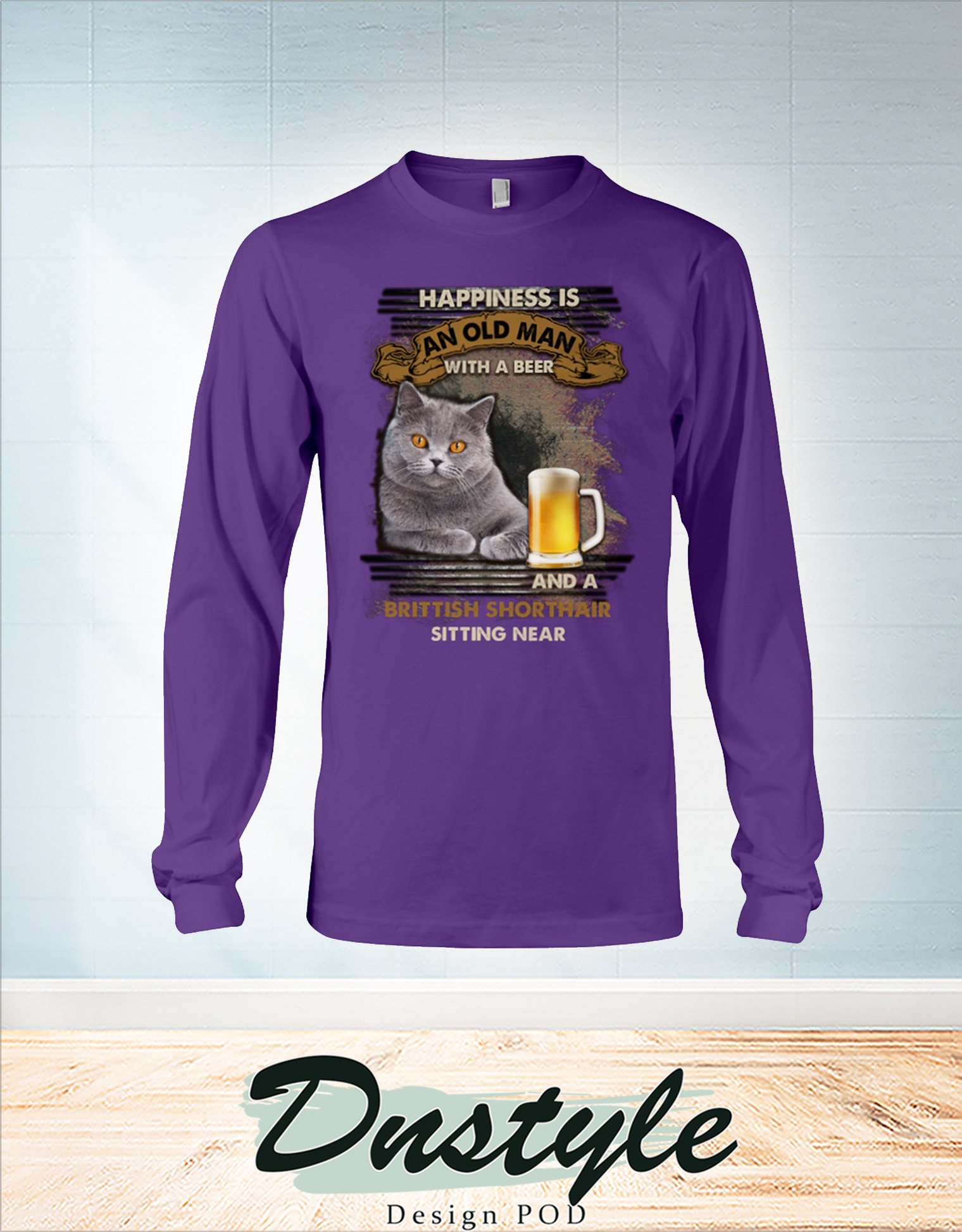 Happiness is an old man with a beer and a Brittish Shorthair sitting near long sleeve