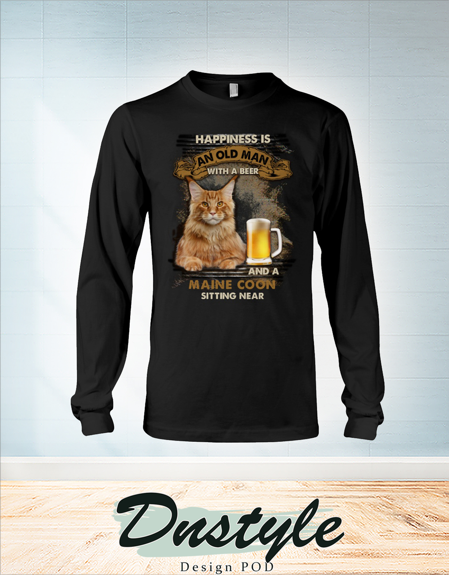 Happiness is an old man with a beer and a Maine Coon sitting near long sleeve