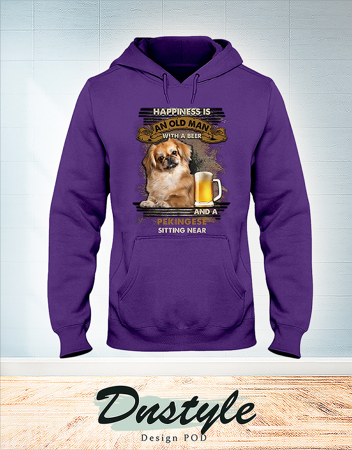 Happiness is an old man with a beer and a Pekingese sitting near hoodie