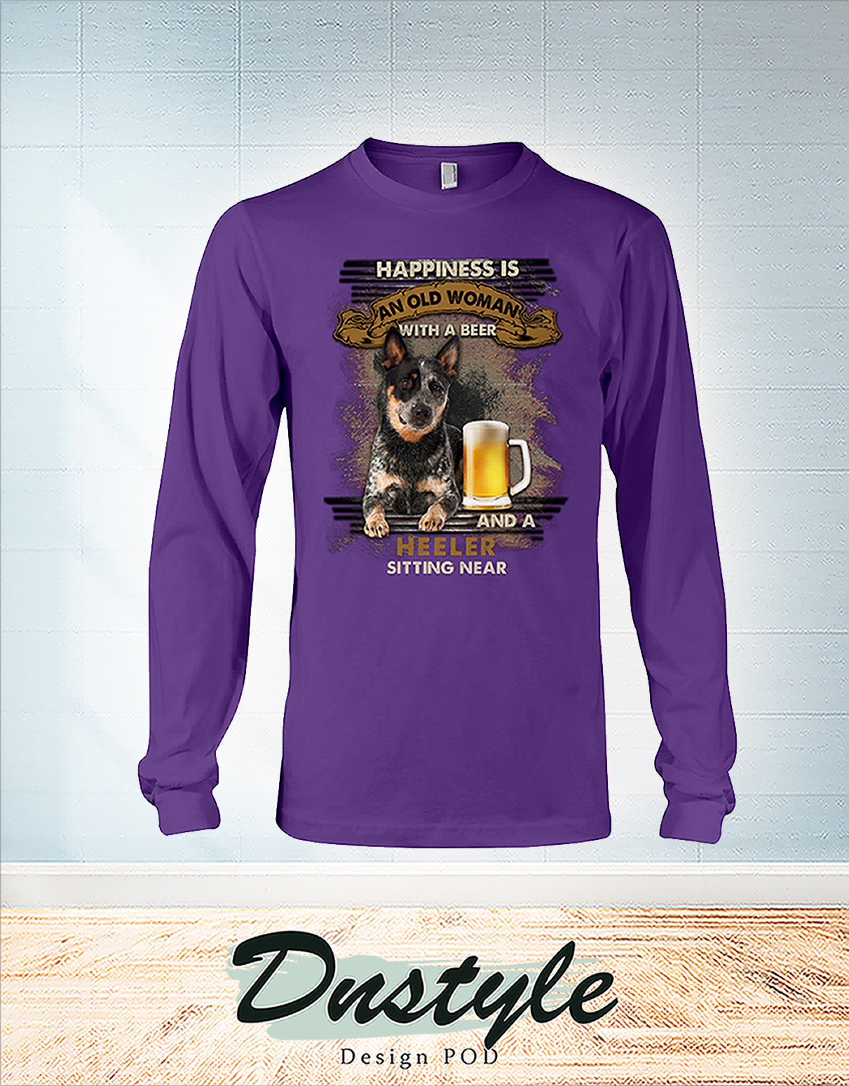 Happiness is an old man with a beer and a heeler sitting near long sleeve