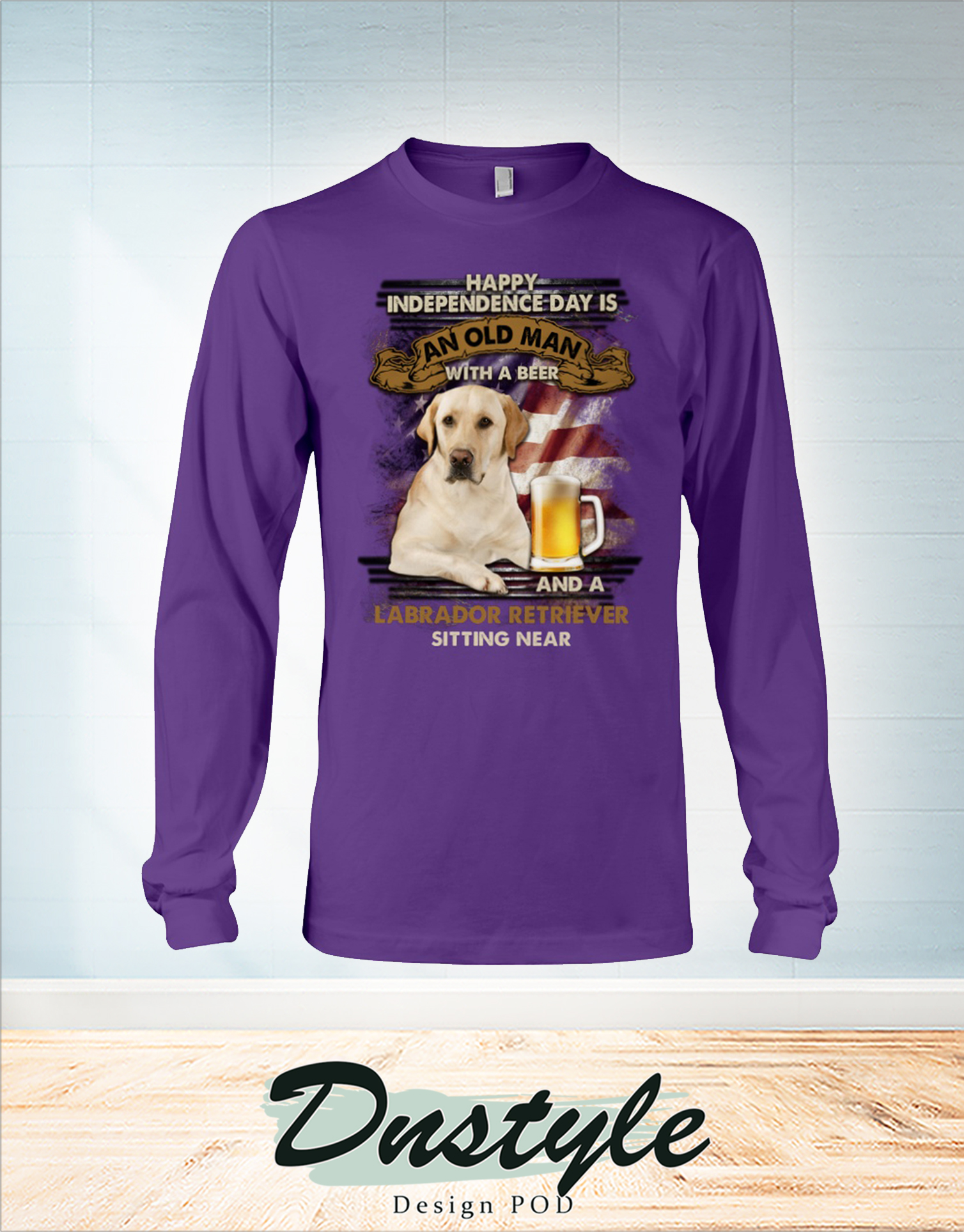 Happy independence day is an old man with a beer and a Labrador retriever sitting near long sleeve