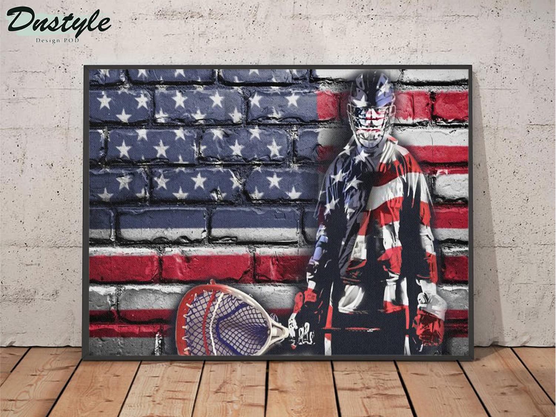 Hockey goalie american flag poster