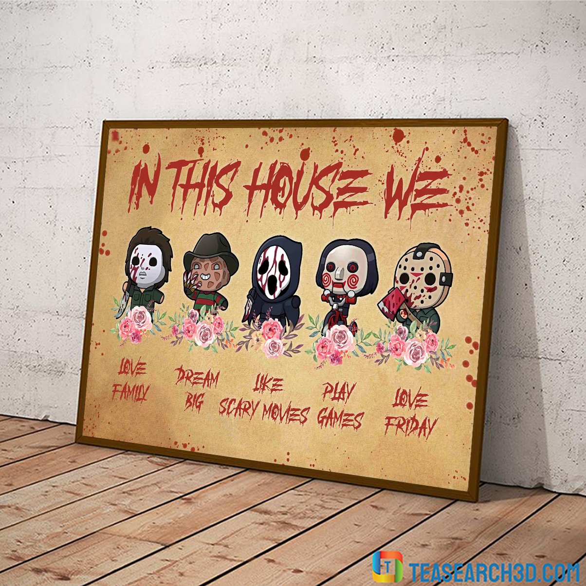 Horror movies in this house we love family canvas medium