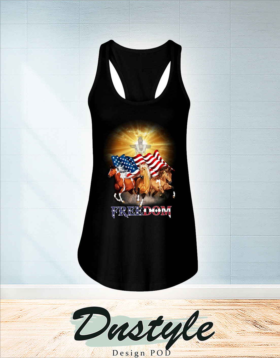 Horse freedom independence day flowy tank
