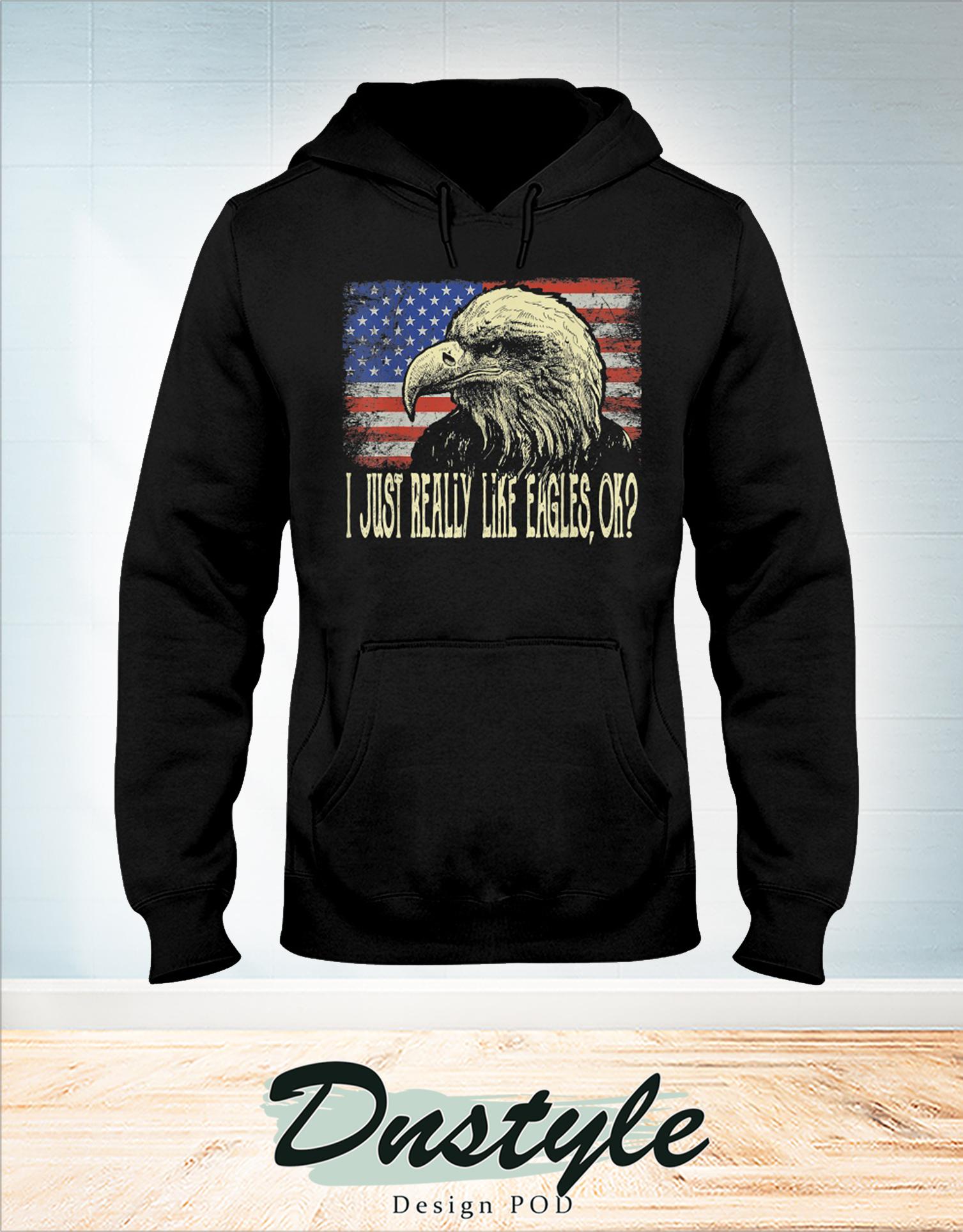 I just really like eagles ok 4th of july hoodie