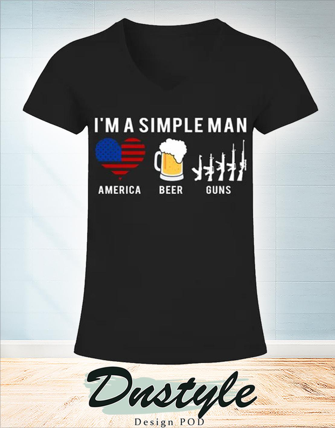 I'm a simple man america beer guns v-neck
