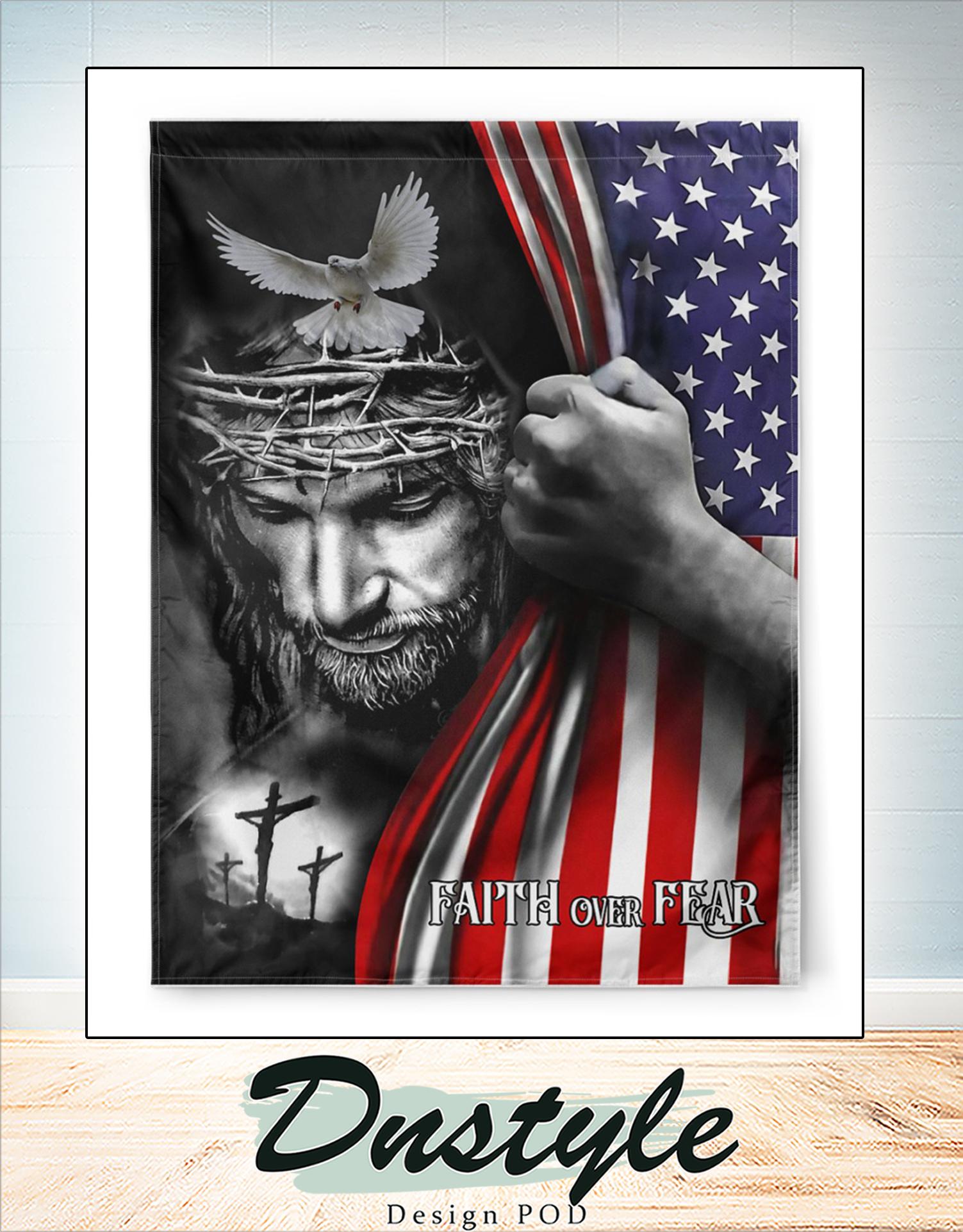Jesus faith over fear american flag