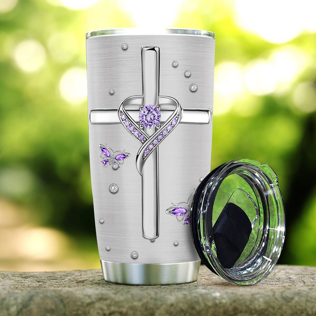 Jewelry butterfly faith surrounded by your glory tumbler 2