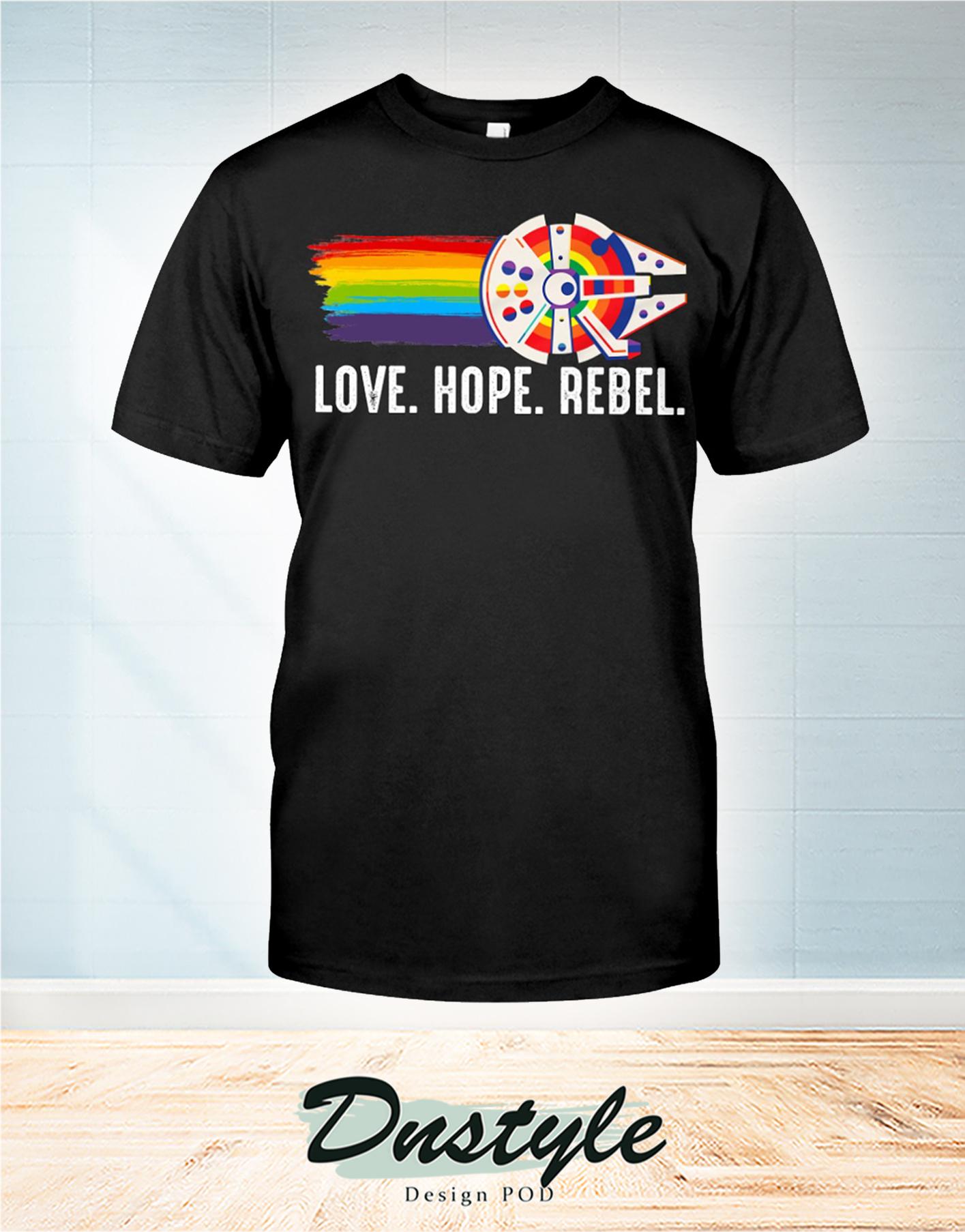 LGBT Millennium Falcon love hope rebel t-shirt