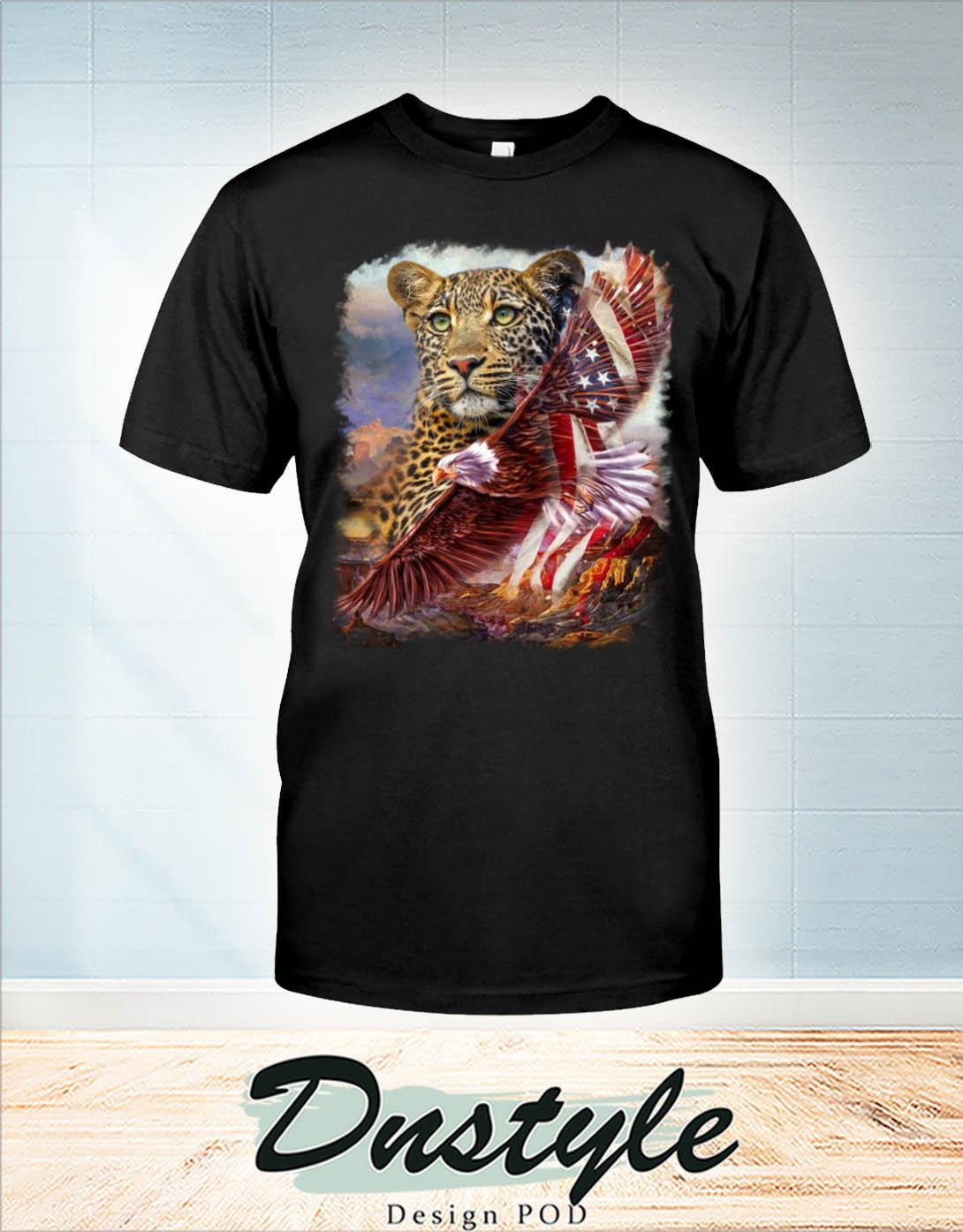 Leopard american patriot eagle t-shirt