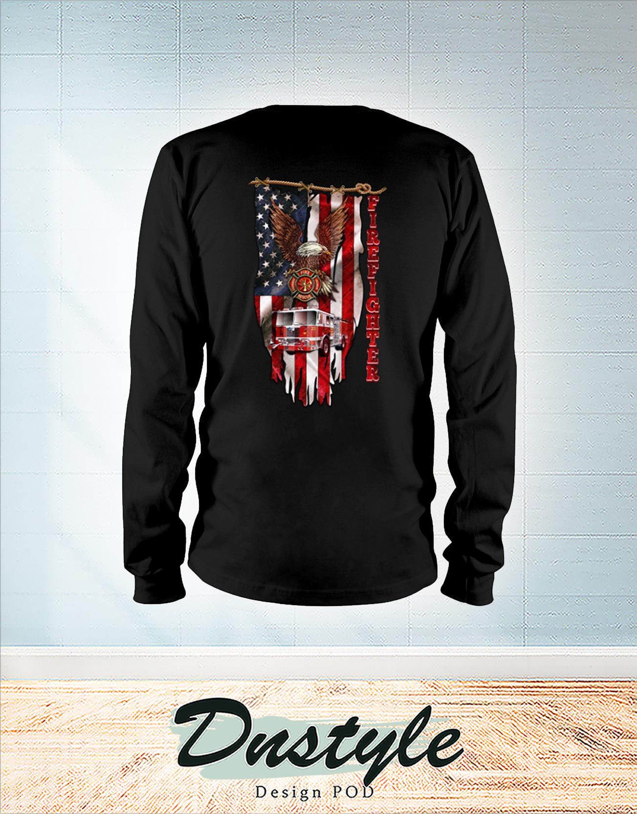 Love firefighter american flag long sleeve