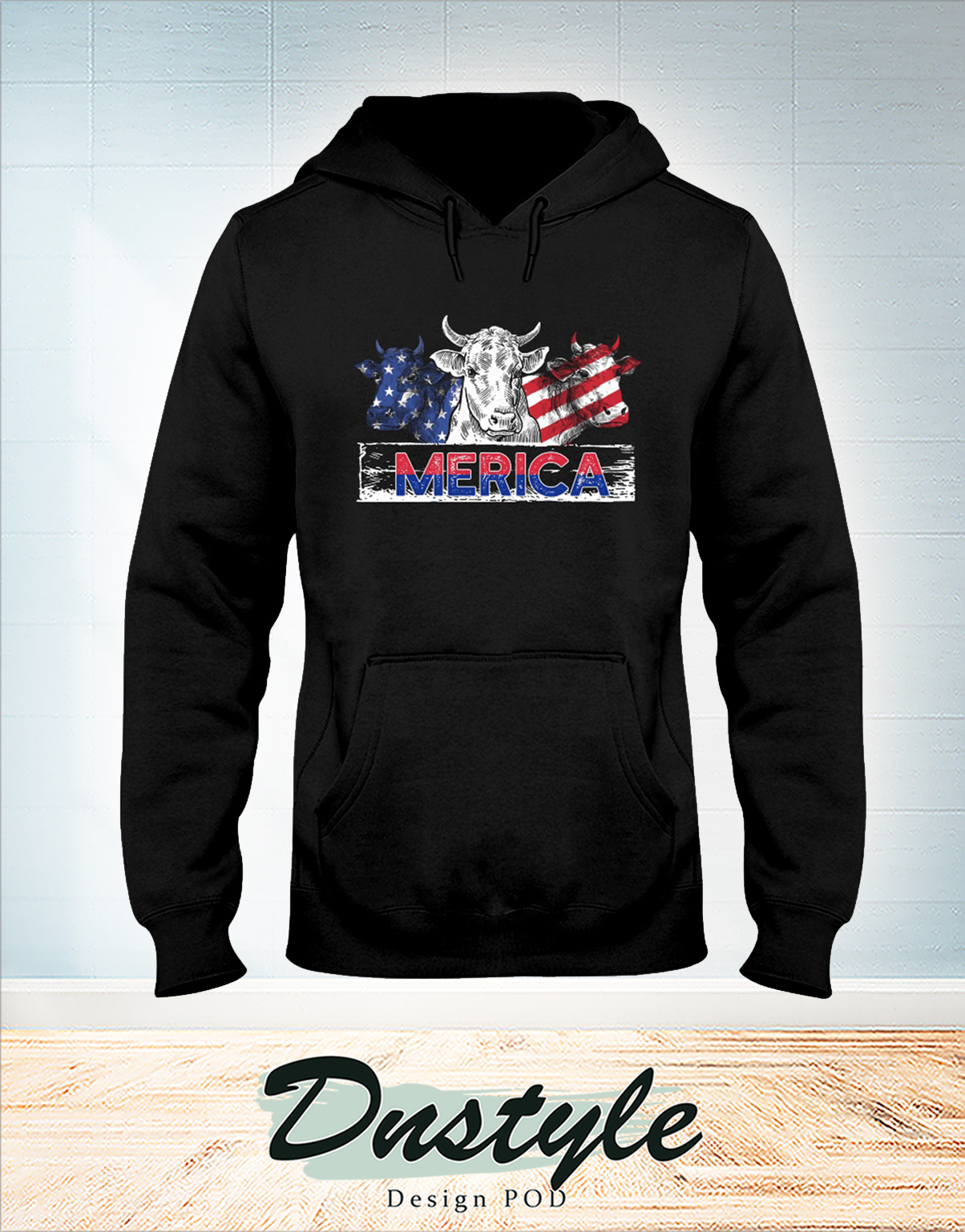 Merica Cow american flag independence day hoodie