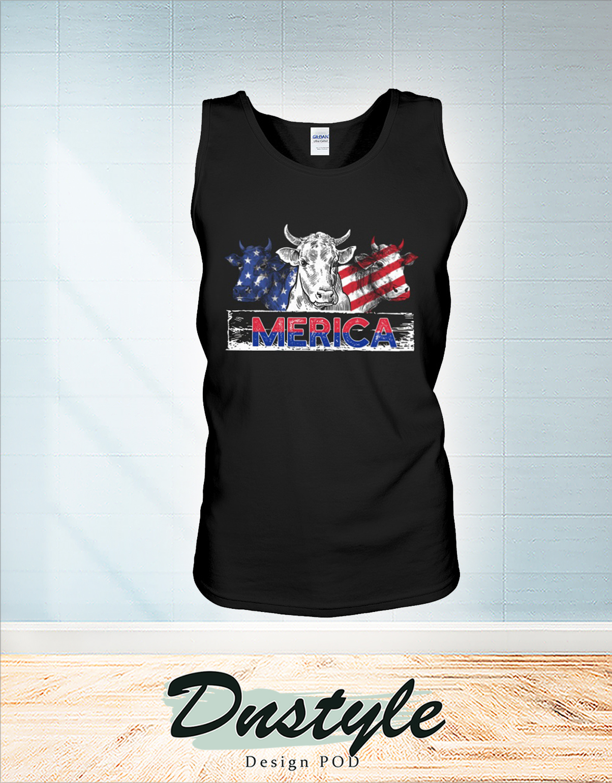 Merica Cow american flag independence day tank