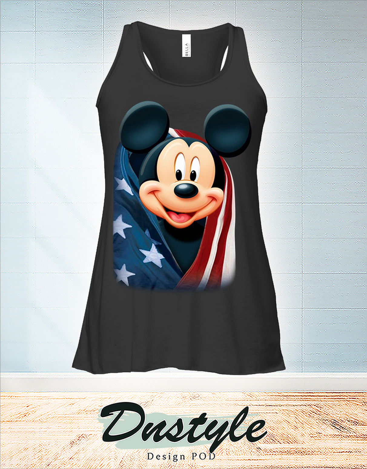 Mickey cool and freedom american flag flowy tank