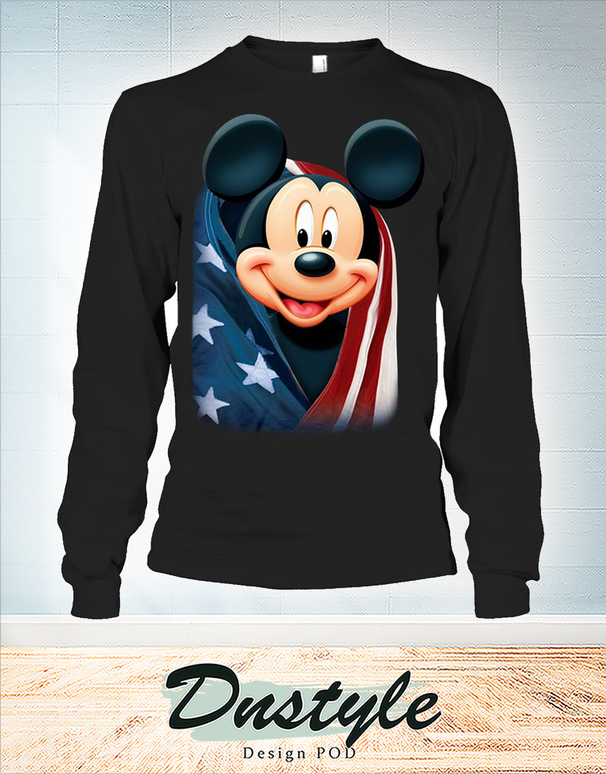 Mickey cool and freedom american flag long sleeve