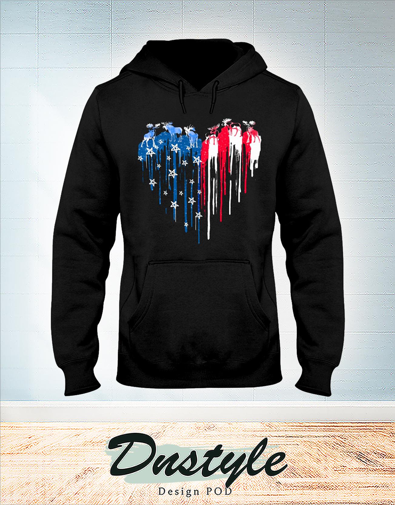 Moose freedom heart color american flag 4th of july hoodie