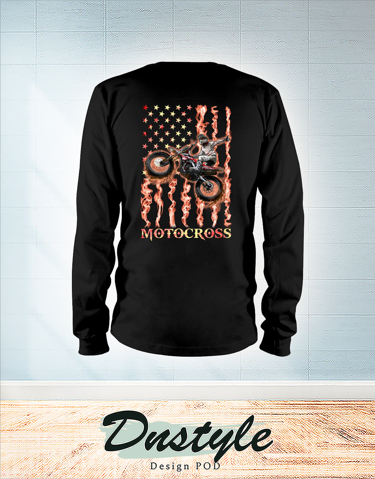 Motocross fire american flag 4th of july long sleeve