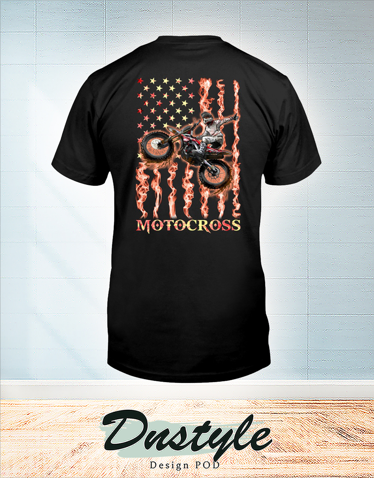 Motocross fire american flag 4th of july t-shirt