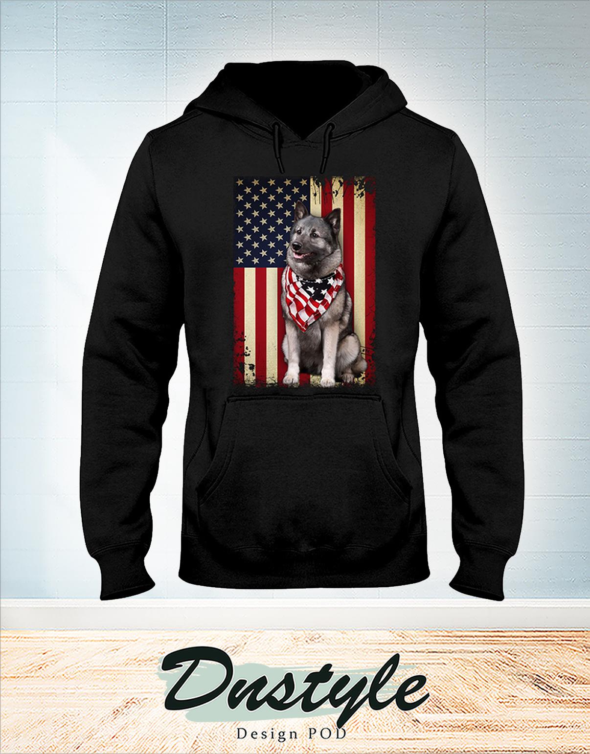 Norwegian Elkhound smile american flag 4th of July hoodie