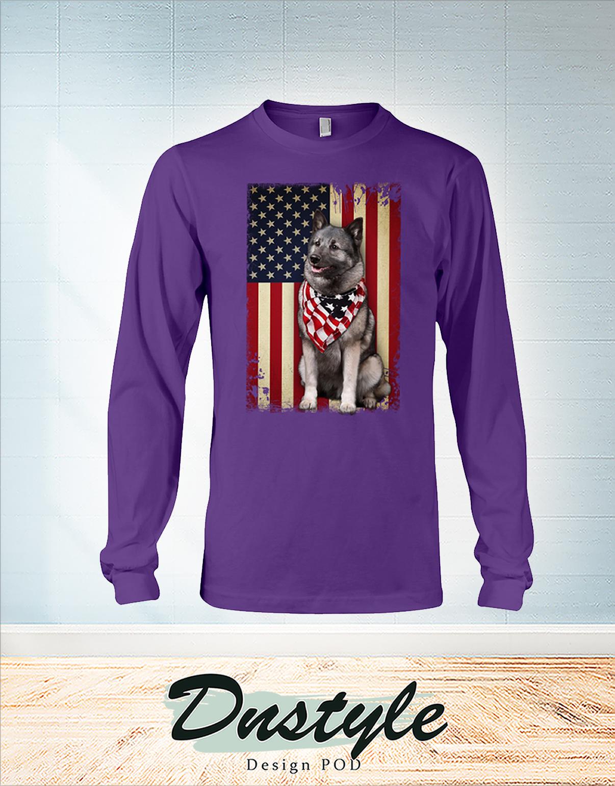 Norwegian Elkhound smile american flag 4th of July long sleeve