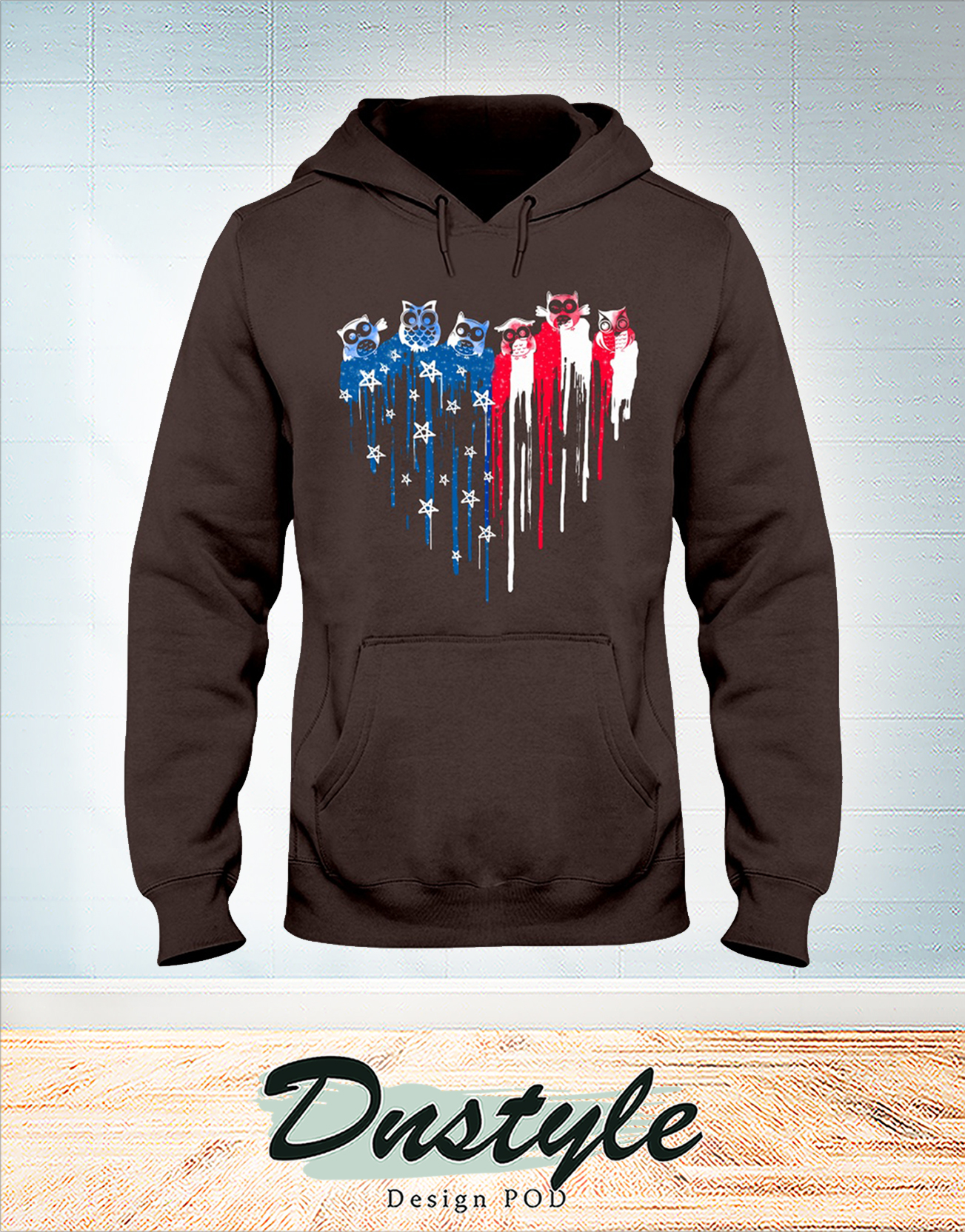 Owl freedom heart color american flag 4th of july hoodie