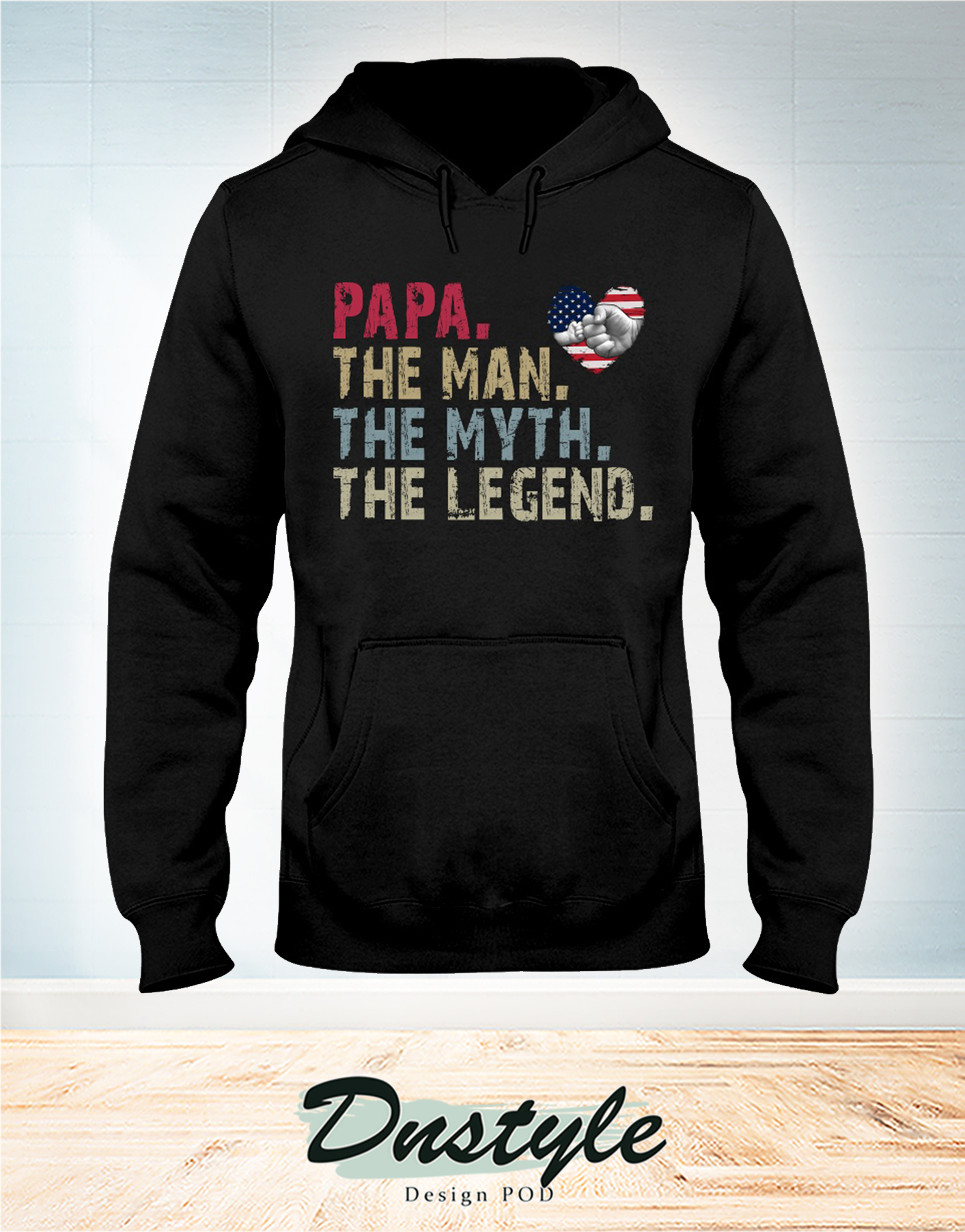 Papa the man the myth the legend american flag heart hoodie