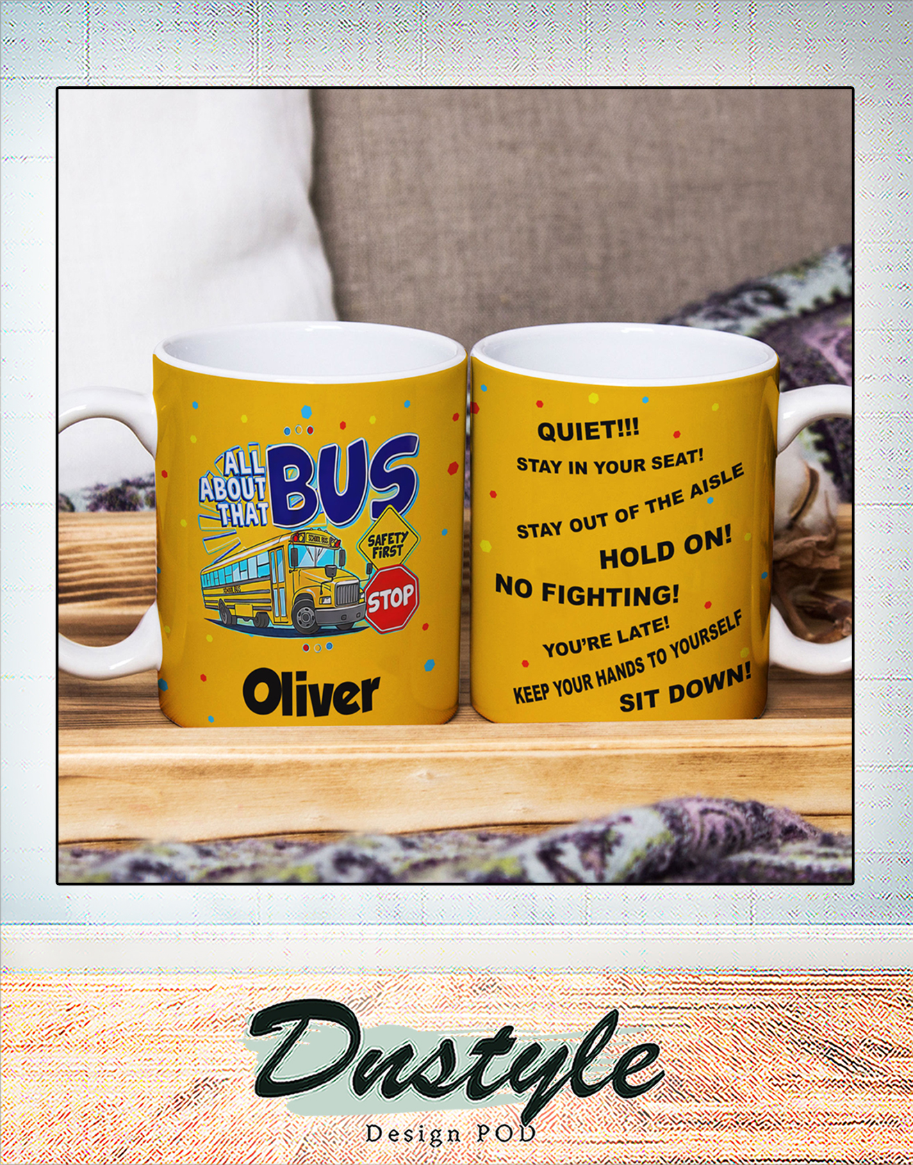Personalized custom name all about school bus mug 1