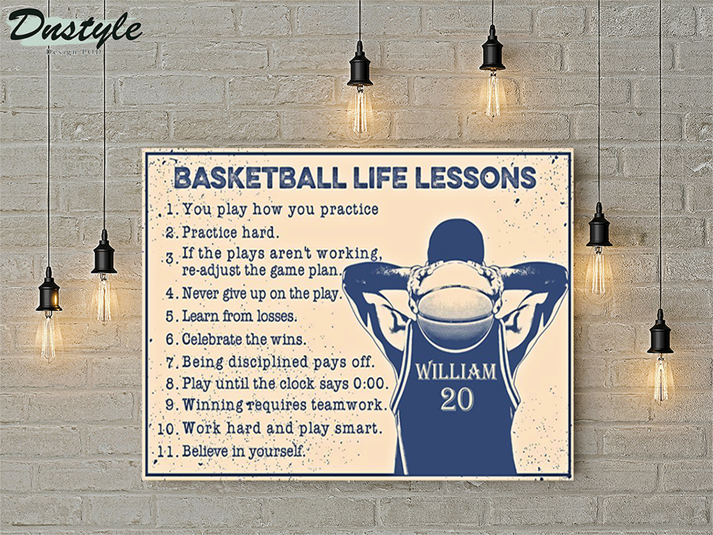 Personalized custom name basketball life lessons poster A1