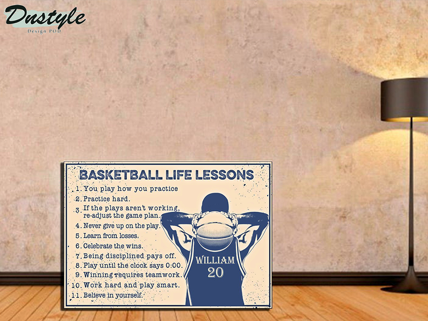 Personalized custom name basketball life lessons poster A2