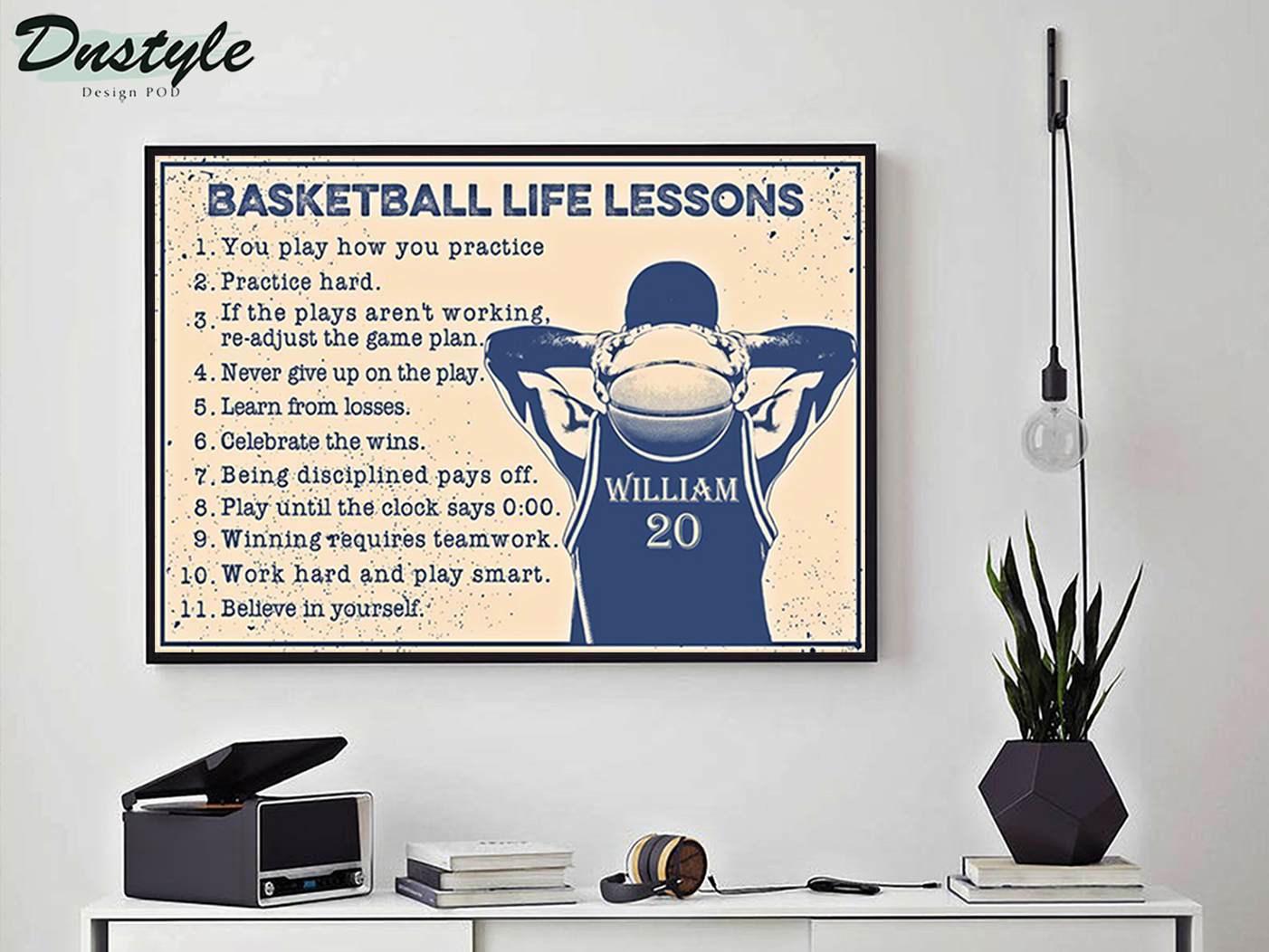 Personalized custom name basketball life lessons poster A3