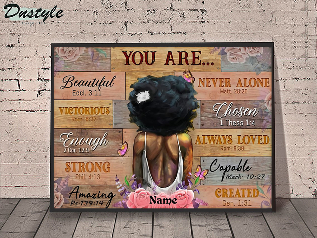 Personalized custom name black girl you are beautiful poster A1