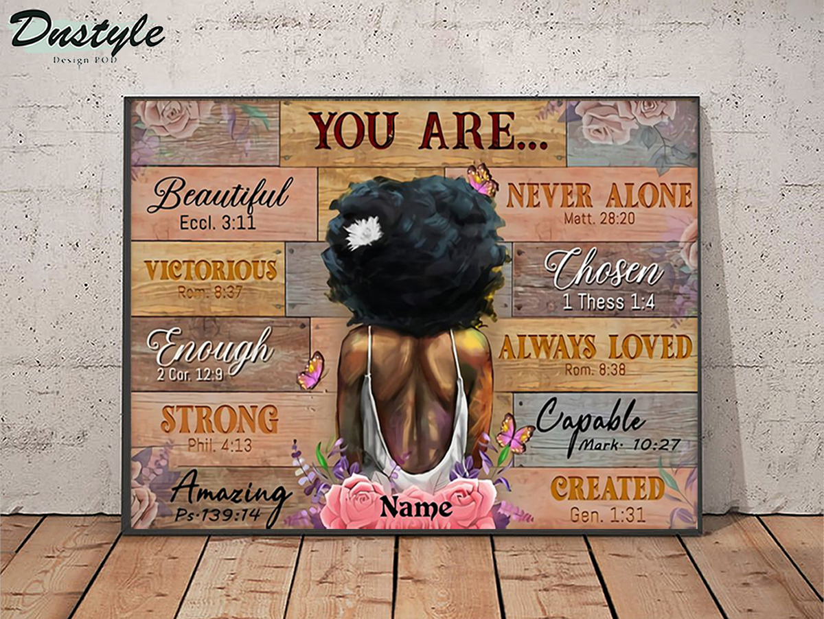 Personalized custom name black girl you are beautiful poster A2