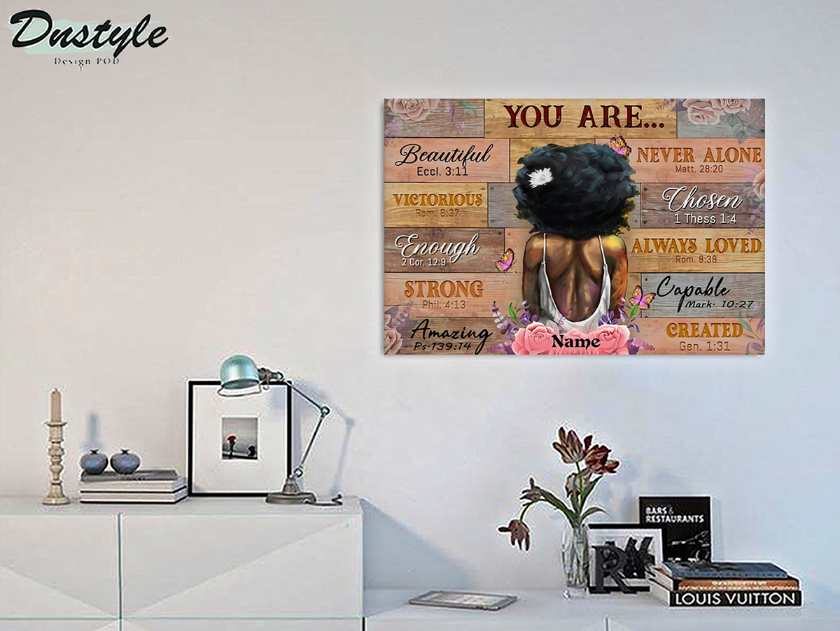 Personalized custom name black girl you are beautiful poster A3