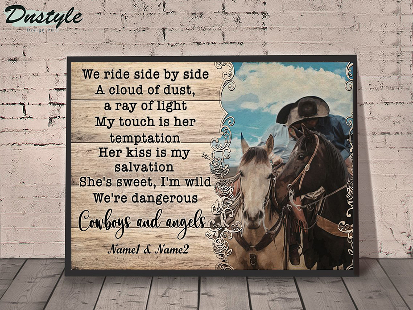 Personalized custom name cowboy and angels we ride side by side a cloud of dust poster A1