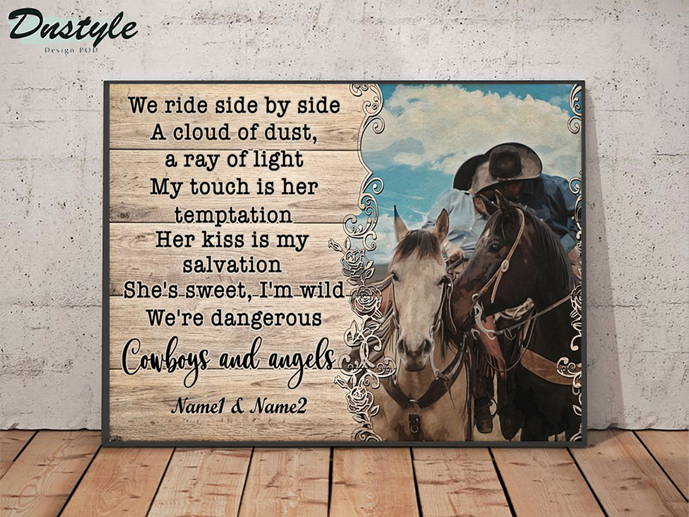 Personalized custom name cowboy and angels we ride side by side a cloud of dust poster A2