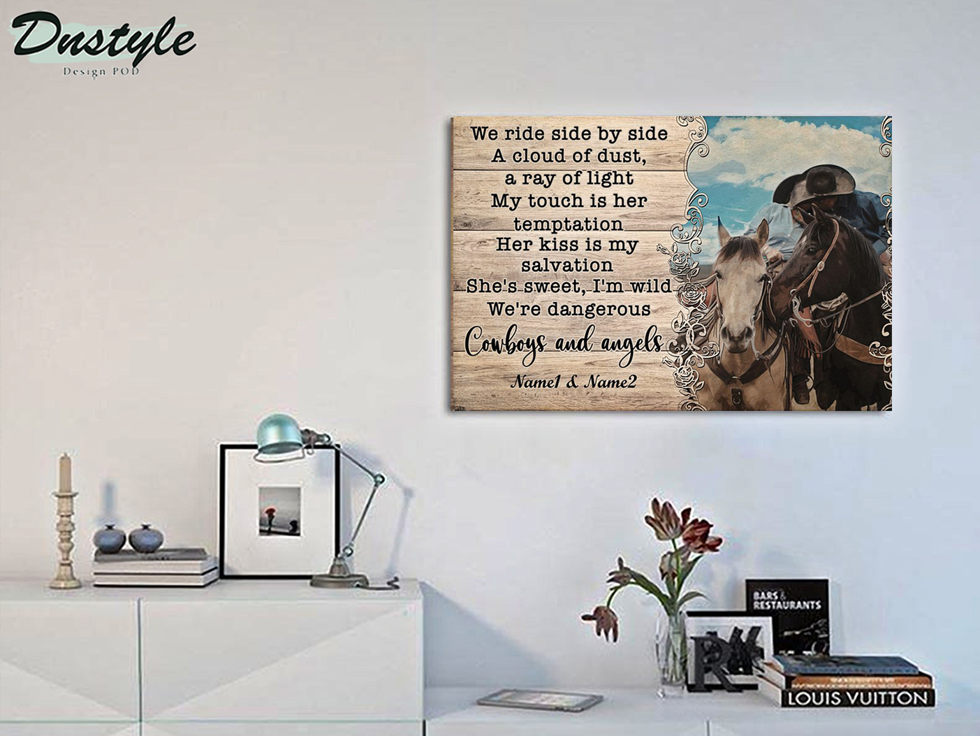 Personalized custom name cowboy and angels we ride side by side a cloud of dust poster A3