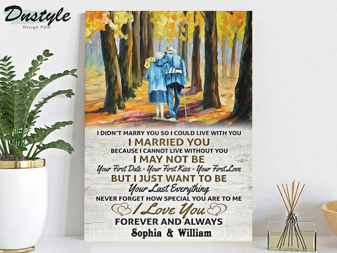 Personalized custom name old couple I married you canvas large
