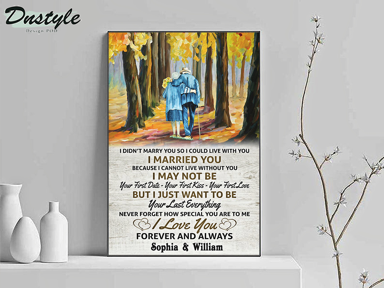 Personalized custom name old couple I married you canvas medium