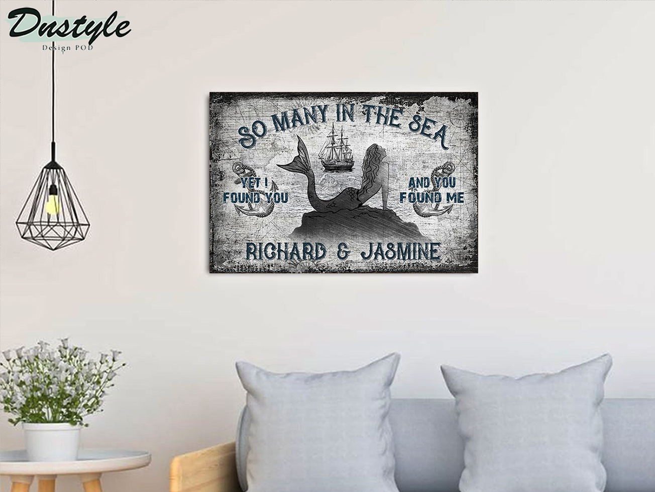 Personalized custom name sailor mermaid so many in the sea poster A1