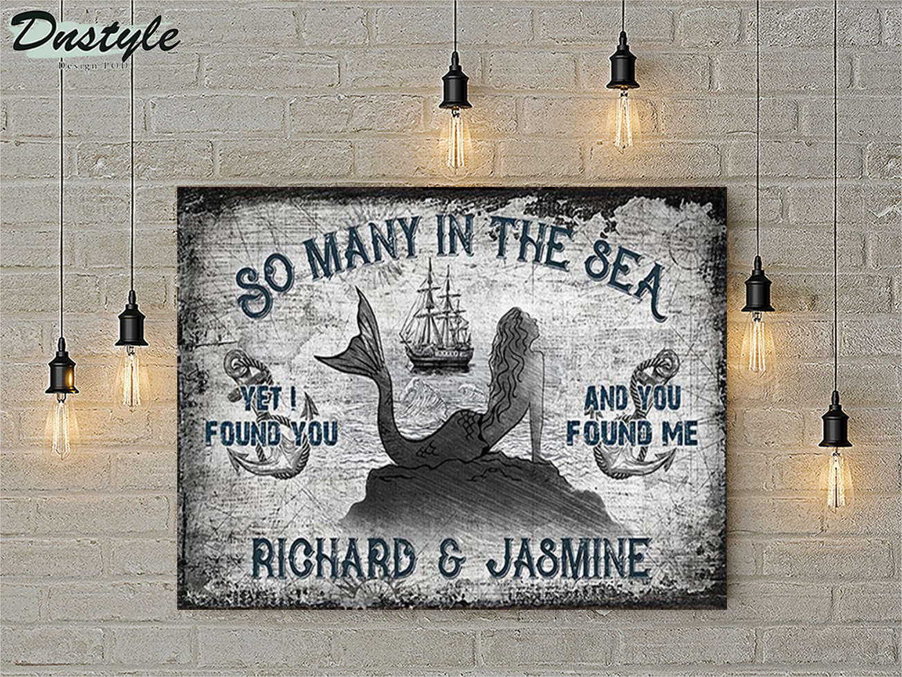 Personalized custom name sailor mermaid so many in the sea poster A3