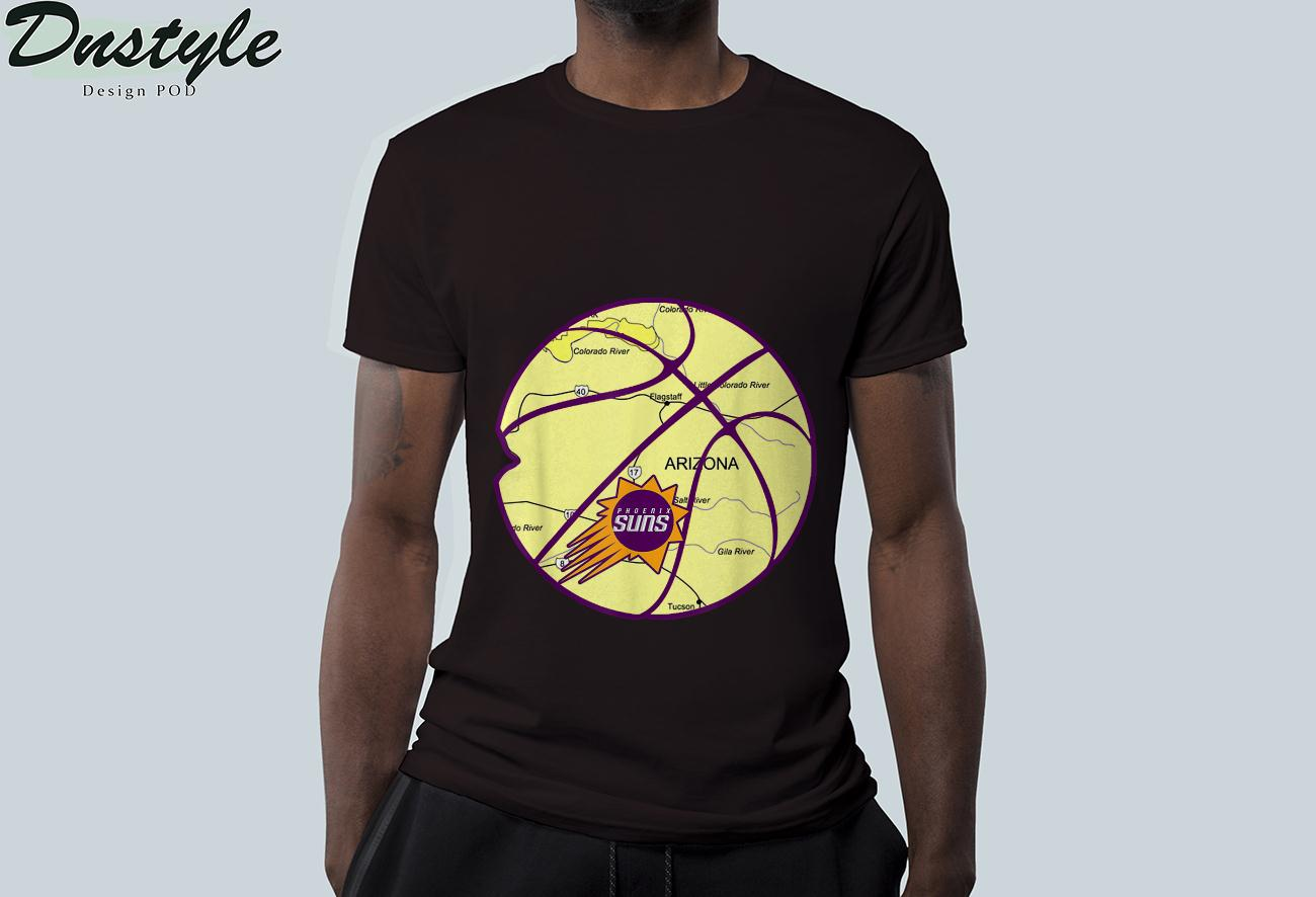Phoenix City Arizona State Map Basketball Vintage Sun Color T-Shirt 2