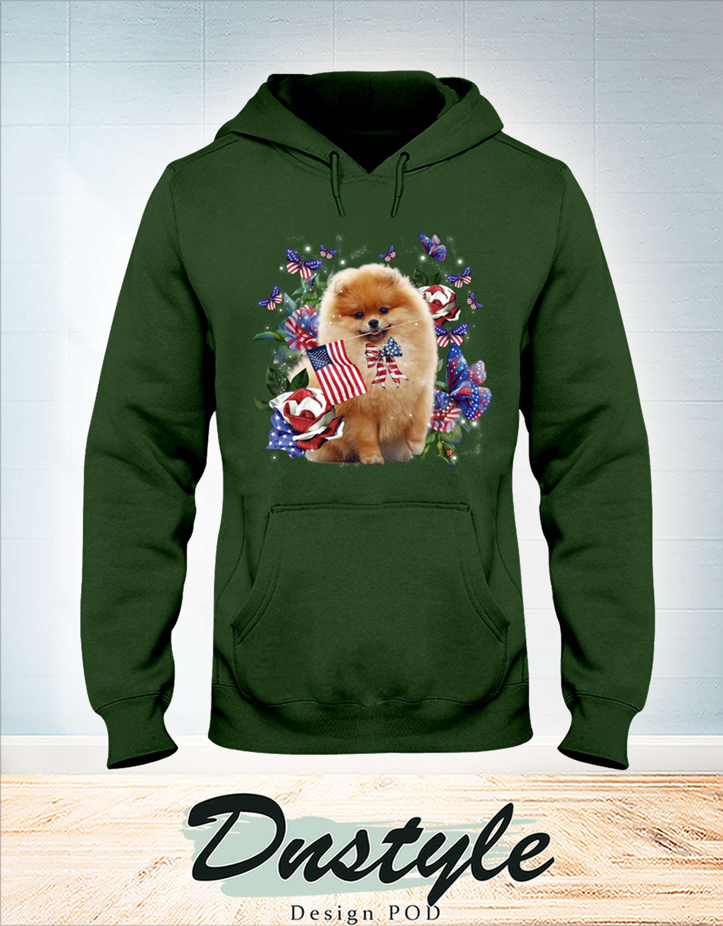 Pomeranian only one nation I love american flag 4th of july hoodie