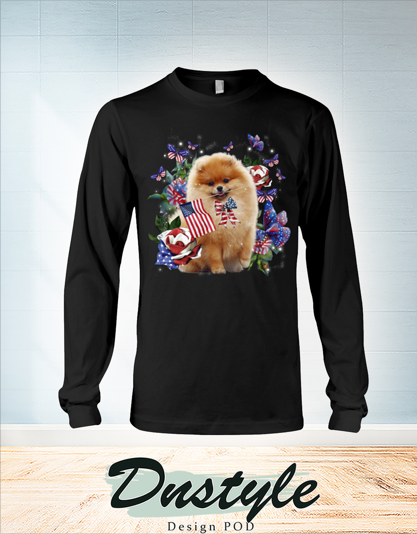 Pomeranian only one nation I love american flag 4th of july long sleeve