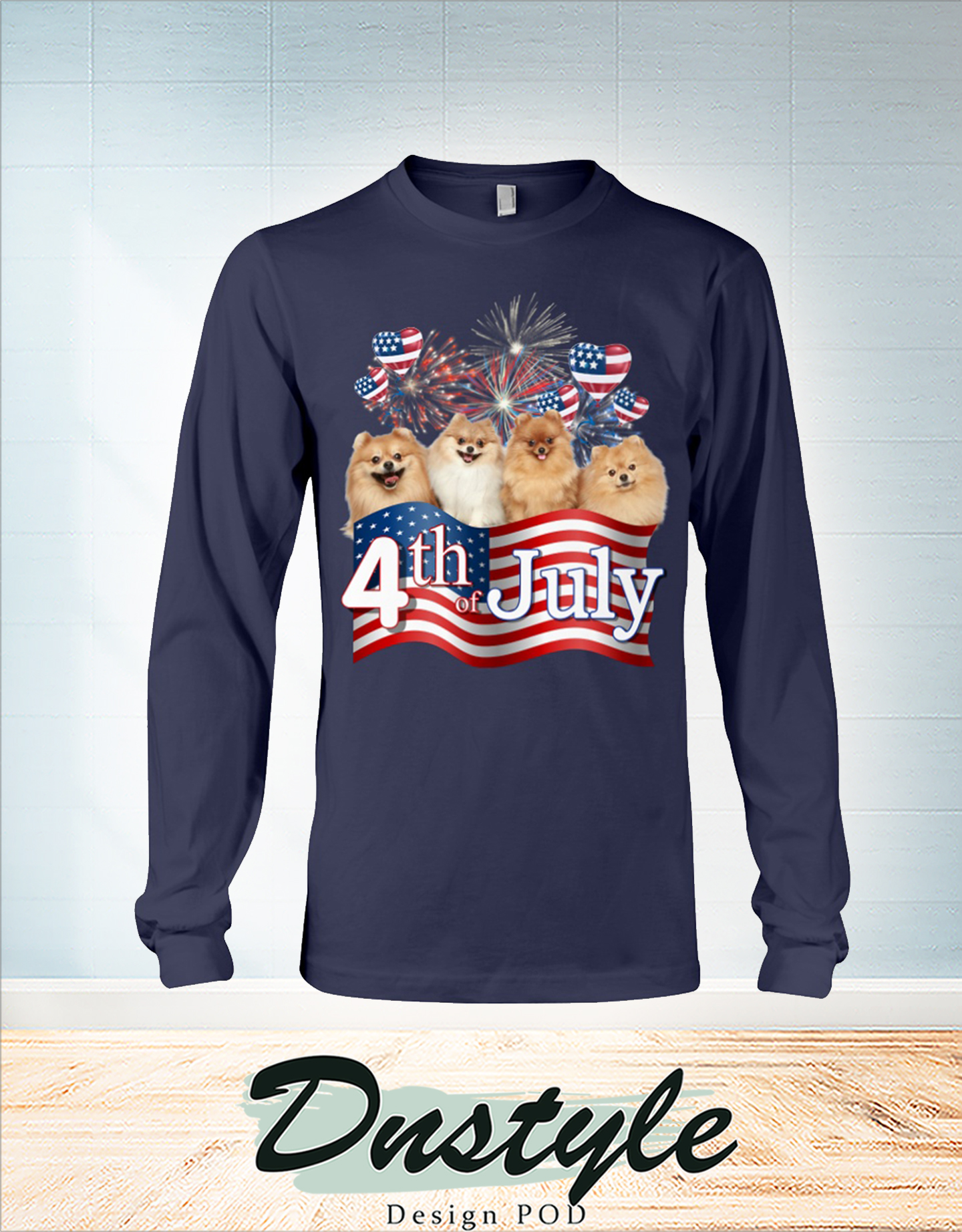Pomeranian we love america 4th of july long sleeve