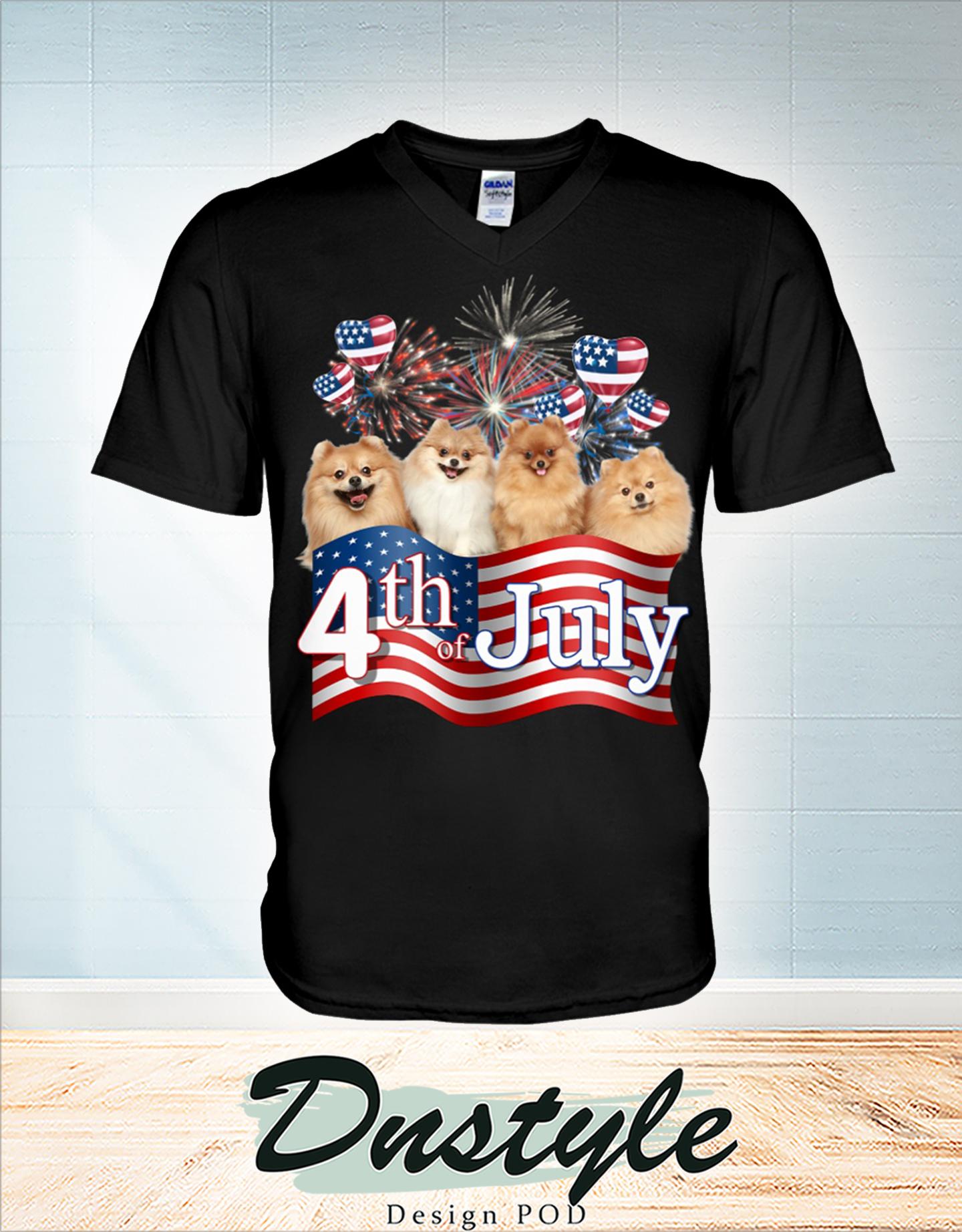 Pomeranian we love america 4th of july v-neck