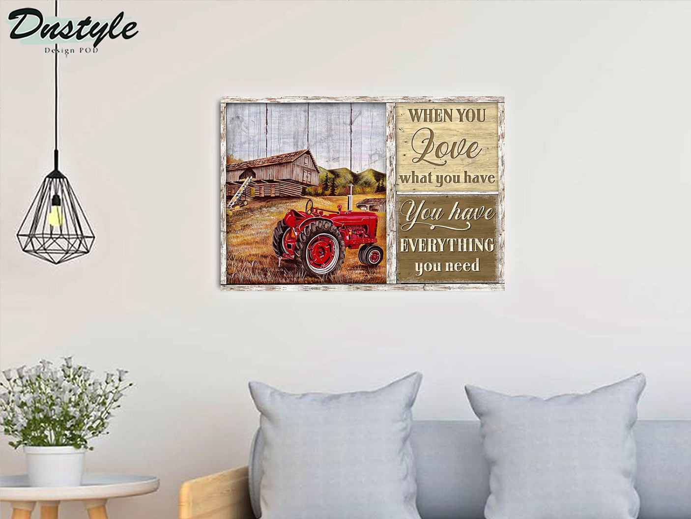 Red tractor when you love what you have canvas medium