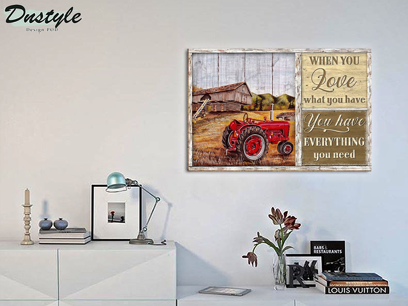 Red tractor when you love what you have canvas small