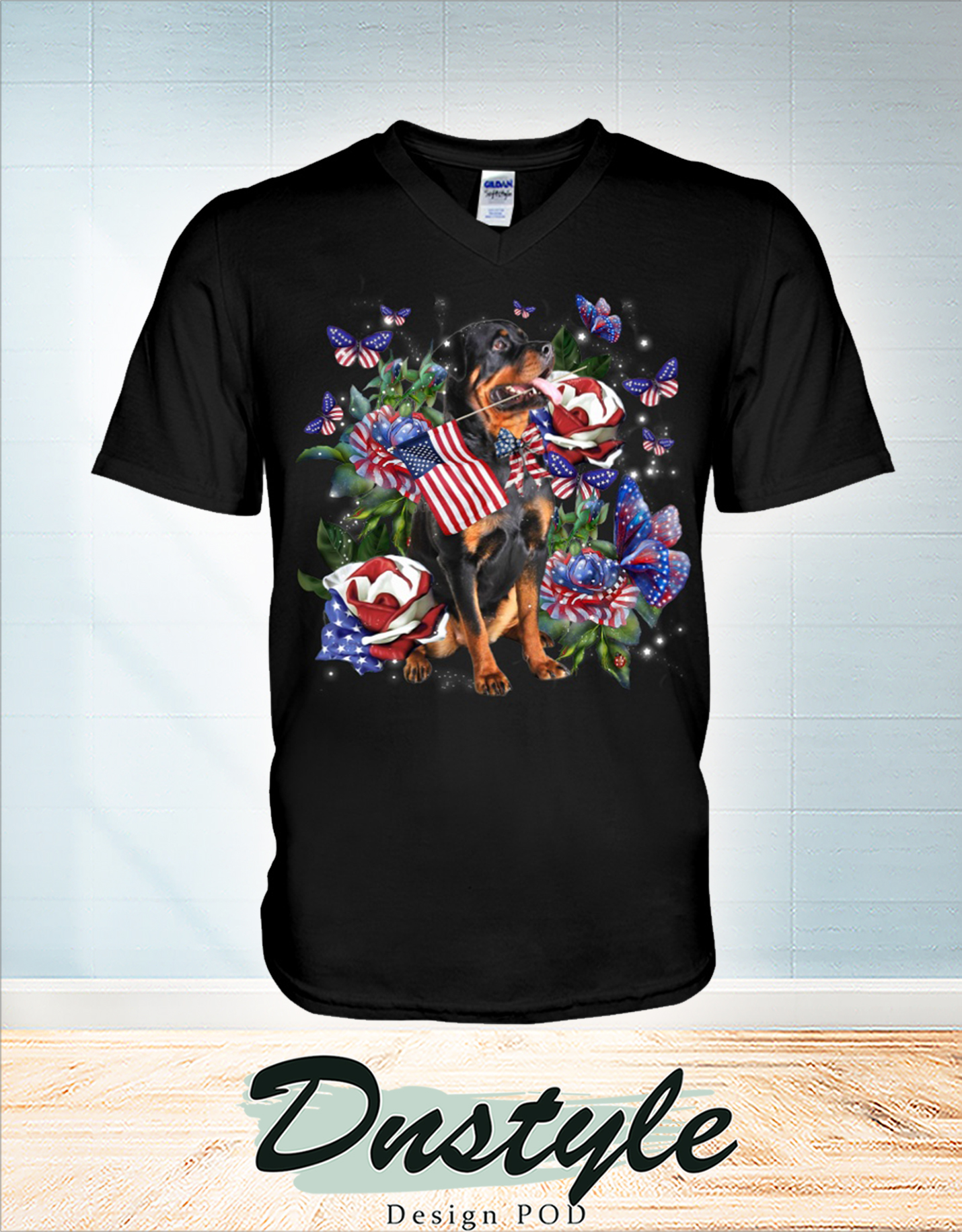 Rottweiler only one nation I love american flag 4th of july v-neck