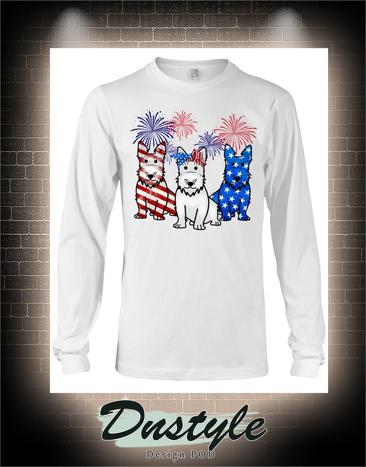 Scottish Terrier american flag colors long sleeve