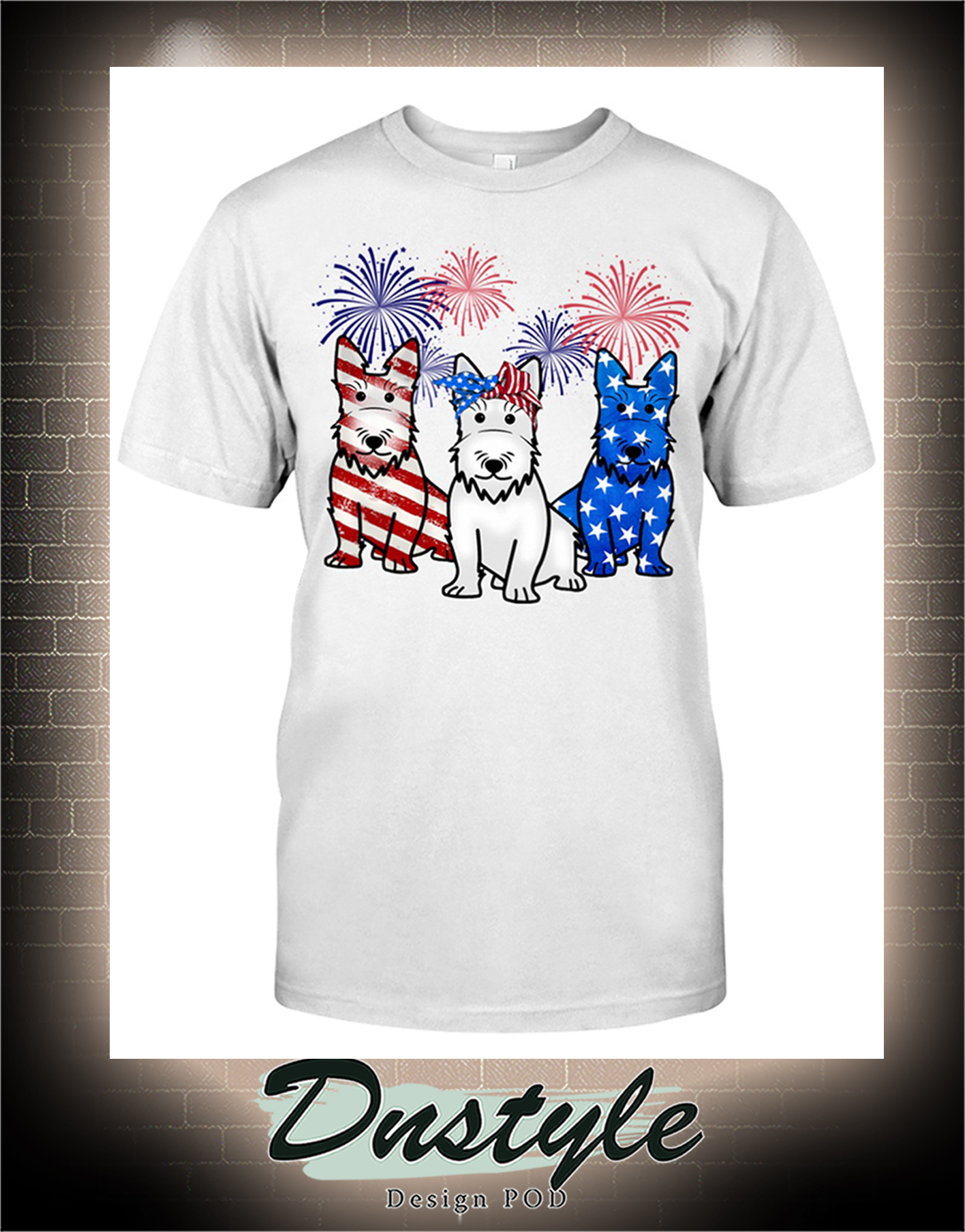 Scottish Terrier american flag colors t-shirt